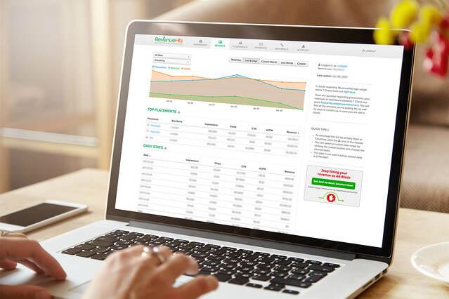 RevenueHits dashboard